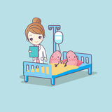 Cute cartoon kidney and doctor. Great for health care concept vector illustration