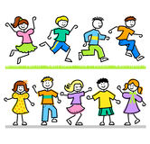 Cute Cartoon Kids/AI. Cartoon illustrations of active children in a variety of poses Royalty Free Stock Images
