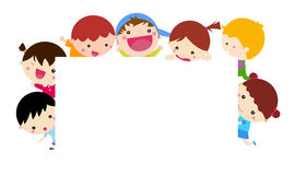 Cute cartoon kids and banner. Illustrated isolated image Stock Photo