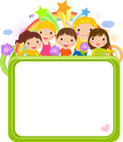 Cute cartoon kids frame. Illustration of group of children and frame