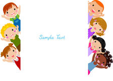 Cute cartoon kids frame. Illustration of group of children and frame Stock Photo