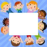 Cute cartoon kids frame. Illustration of cute cartoon kids frame Stock Images