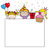 Cute cartoon kids frame. Celebrating birthday party Stock Photography