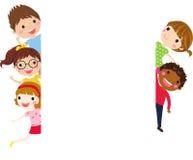 Cute cartoon kids frame. Illustration of cute cartoon kids frame Stock Photography