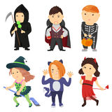 Cute cartoon kids in halloween costumes Stock Images