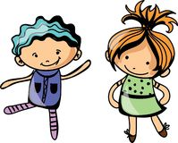 Cute cartoon kids.vector Stock Photo