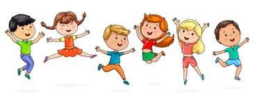 Cute cartoon kids jumping fun Stock Photo