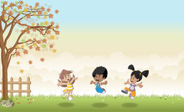 Cute cartoon kids jumping. Royalty Free Stock Images