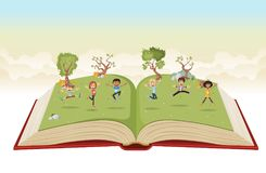 Cute cartoon kids jumping on green park. Open book with cute cartoon kids jumping on green park Royalty Free Stock Image