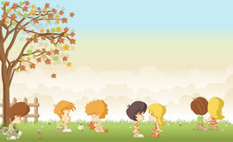 Cute cartoon kids in love Royalty Free Stock Photography