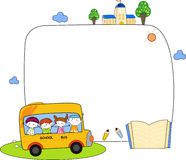 Cute cartoon kids and school bus frame Royalty Free Stock Photography