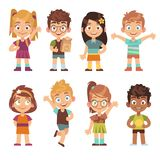 Cute cartoon kids set. Children girls boys standing kid portraits happy teens group funny preschool child characters
