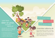 Cute cartoon kids. Template for advertising brochure with cute cartoon kids Stock Photo