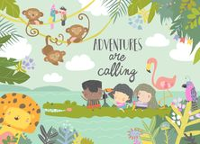Free Cute Cartoon Kids Travelling With Animals. Adventures Are Calling Royalty Free Stock Images - 166412949