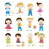 Cute Cartoon Kids. Vector set of cute cartoon kids Stock Photo