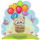 Cute Cartoon Kitten with balloons. Cute Cartoon Kitten in the box is flying on balloons Royalty Free Stock Photos