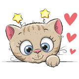 Cute Cartoon Kitten. With big eyes on a white background