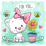 Cute cartoon Kitten with flower Royalty Free Stock Photos
