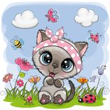 Cute Cartoon Kitten girl on a meadow. With flowers and butterflies vector illustration