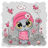 Kitten on a meadow with flowers and butterflies Royalty Free Stock Image