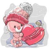 Cute Cartoon Kitten in a knitted cap Stock Image