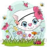 Cute Cartoon Kitten on a meadow. Cute Cartoon Kitten girl on a meadow with flowers and butterflies stock illustration