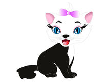 Cute cartoon kitten. Stock Photo
