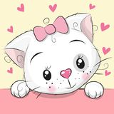 Cute Cartoon Kitten With Hearts Royalty Free Stock Images
