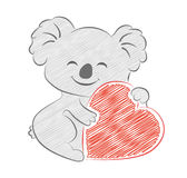 Cute cartoon koala holding heart sketch. Pencil painted style. royalty free stock images