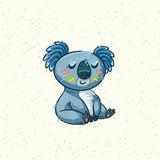 Cute cartoon koala on a tree. Vector illustration Stock Photography
