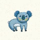 Cute cartoon koala on a tree. Vector illustration Stock Photos