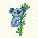Cute cartoon koala on a tree. Vector illustration Royalty Free Stock Photos