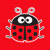 Cute cartoon lady bug sticker icon. Red background. Baby illustration. Flat design. Royalty Free Stock Image