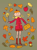 Cute cartoon lady happy with autumn Stock Images