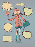 Cute cartoon lady with speech doodle bubbles Royalty Free Stock Photo