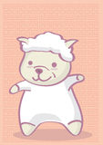 Cute Cartoon Lamb on Chinese Style Pattern Background Royalty Free Stock Photos