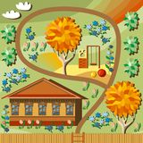 Cute cartoon land. With wooden house and colorful garden Royalty Free Stock Photos