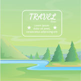 Cute Cartoon landscapes with mountain. Vector illustration Royalty Free Stock Photo
