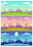 Cute cartoon landscapes set. Day, evening, night nature background for game.