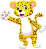 Cute cartoon leopard waving hand Stock Images