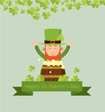 Cute cartoon leprechaun on beer keg for saint patrick day. Stock Photos