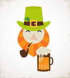 Cute cartoon leprechaun with beer. St. Patricks Day celebration. Royalty Free Stock Images