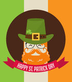 Cute cartoon leprechaun with beer. St. Patricks Day celebration. Stock Photos