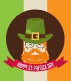 Cute cartoon leprechaun with beer. St. Patricks Day celebration. Stock Photos