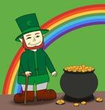 Cute cartoon Leprechaun. And pot of gold Stock Photos