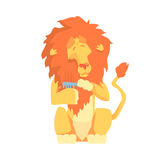 Cute cartoon lion combing its mane colorful character, animal grooming vector Illustration. On a white background Royalty Free Stock Photo