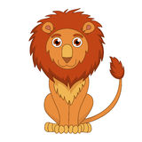 Cute cartoon lion with fluffy mane and kind muzzle Royalty Free Stock Images