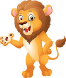 Cute cartoon lion holding blank sign Stock Images