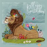 Cute cartoon lion king. Vector birthday card Stock Photos