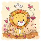 Cute Cartoon Lion On A Meadow Stock Image